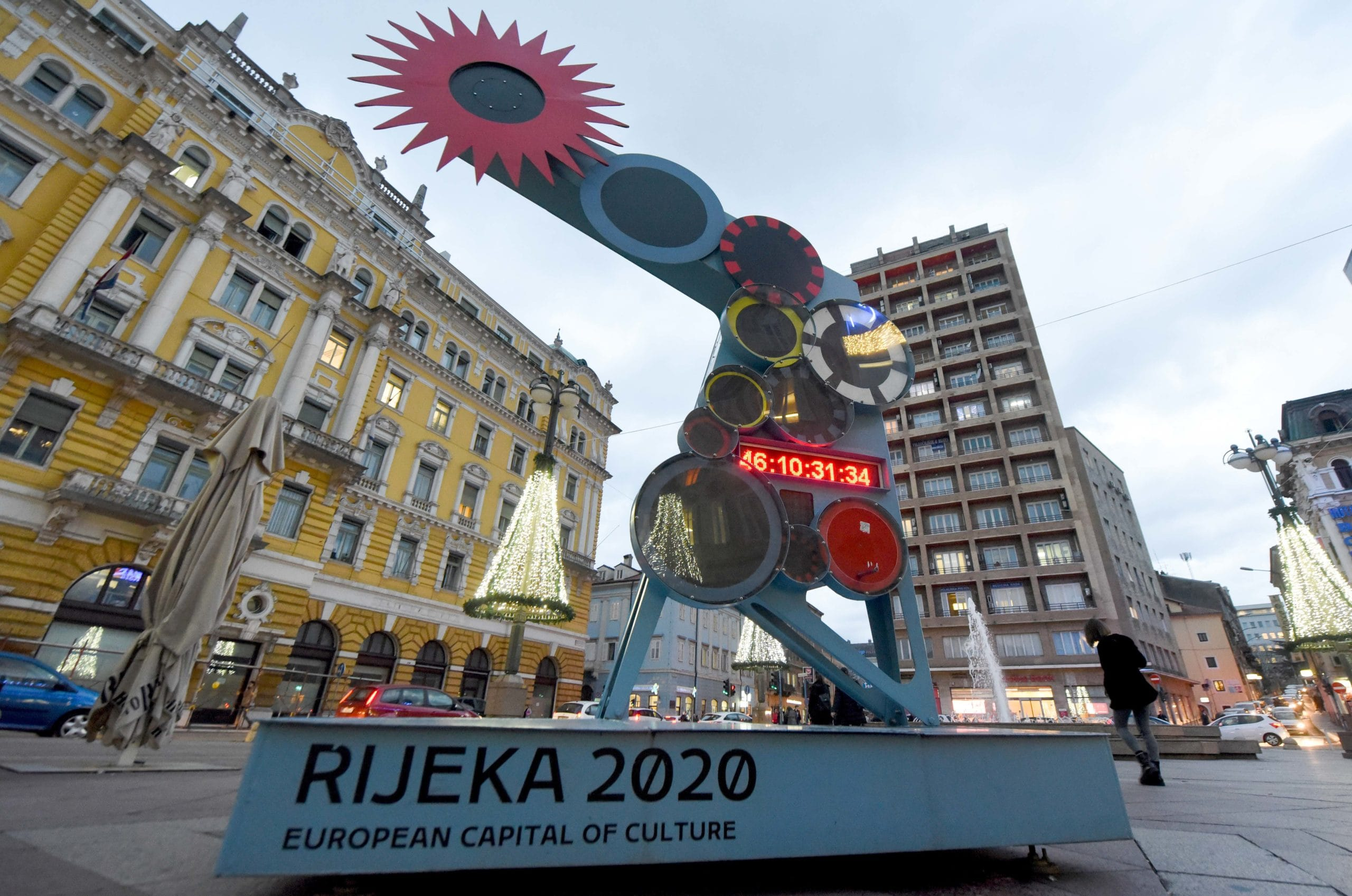 Picture taken on December 18, 2019, shows watch counting down to the end of the year in Rijeka. City of Rijeka has been named European Capital of Culture 2020.